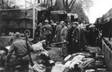 Camp d'extermination nazi de Chelmno nazis devant des corps de juifs