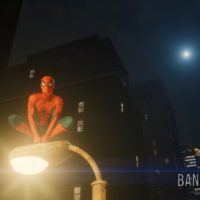 Marvel's Spider-Man pose lampadaire nuit lune Band of Geeks