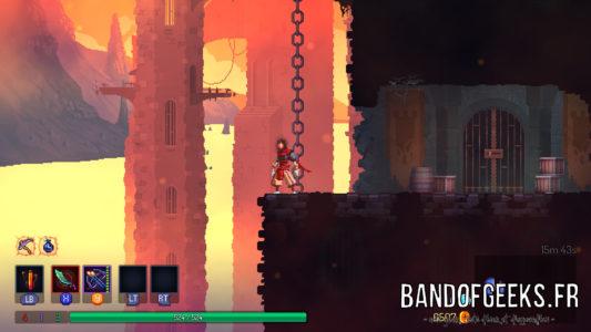 Dead Cells personnage au bord d'un gouffre