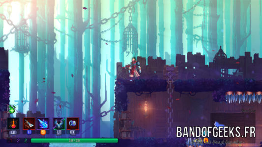 Dead Cells héros devant cages