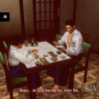 Shenmue I & II Ryo enfant et son père discutent dans la cuisine