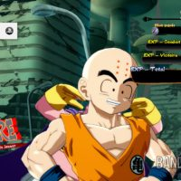 Dragon Ball FighterZ écran de victoire avec Krillin qui prend la pose