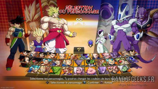 Dragon Ball FighterZ écran de sélection des personnages