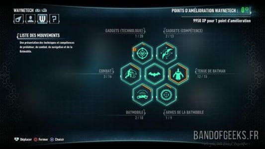 Batman Arkham Knight menu des compétences