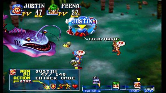 Grandia Justin et Feena affrontent un monstre