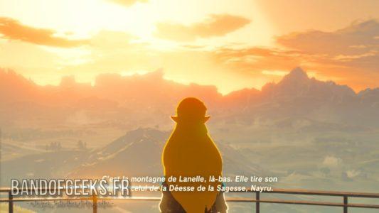 Breath of the Wild Zelda discute avec Link devant le soleil couchant