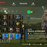 Breath of the Wild inventaire armures