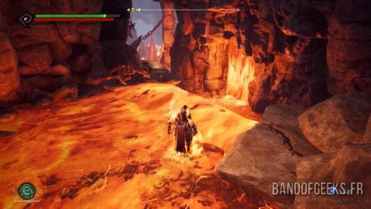 Darksiders III Fury en mode feu dans la lave