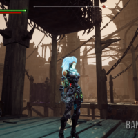 Darksiders III Fury en mode stase devant une structure