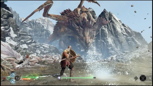 God of War Kratos affronte un dragon