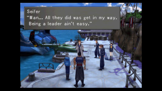 Final Fantasy VIII Seifer parle avec Raijin, Fujin, Squall, Zell et Selphie