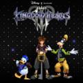 Kingdom Hearts III Sora Donald et Dingo devant le logo