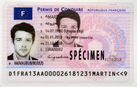 permis de conduire français spécimen