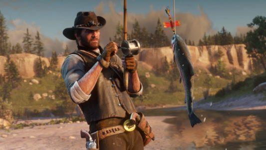 Red Dead Redemption 2 héros pêche un poisson