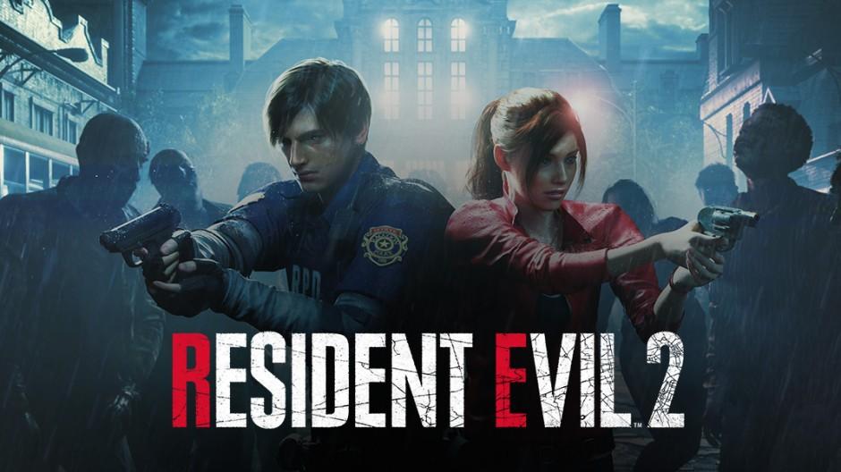 Resident Evil 2 logo avec Claire et Léon aux prises avec des zombies