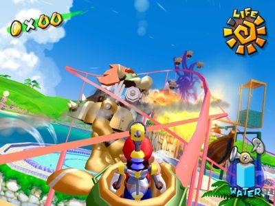 Super Mario Sunshine Mario affronte un Bowser géant mécanique