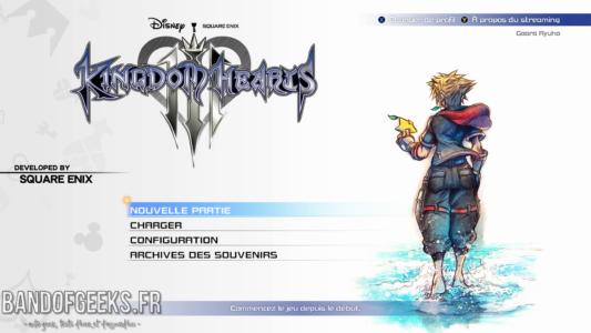 Kingdom Hearts III écran titre
