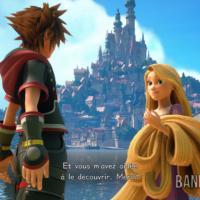 Kingdom Hearts III Sora discute avec Raiponce