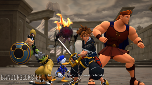 Kingdom Hearts III Sora Donald et Dingo aident Hercules