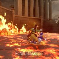 Kingdom Hearts III Sora Donald et Dingo sur un bouclier pour traverser une mer de flammes