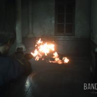 Resident Evil 2 Léon vise des zombies en feu