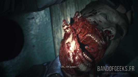 Resident Evil 2 cadavre de zombie avec le visage arraché