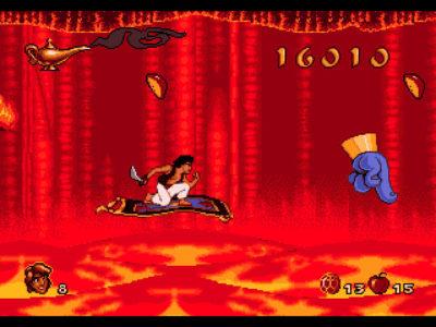 Aladdin sur le tapis volant au dessus de la lave