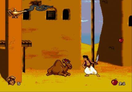 Aladdin à côté d'un chameau dans Agrabah