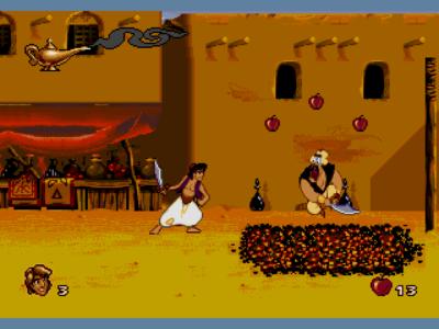 Aladdin garde marche sur des braises et se brûle