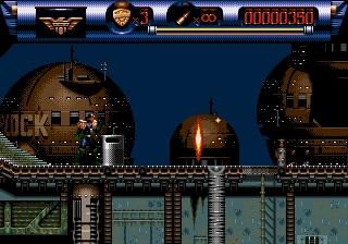 Judge Dredd Megadrive héros caché derrière une poubelle