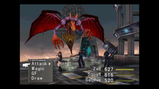 Final Fantasy VIII Squall affronte un Boss