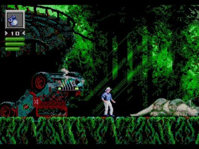 Jurassic Park Megadrive Grant devant un cadavre de Tricératops