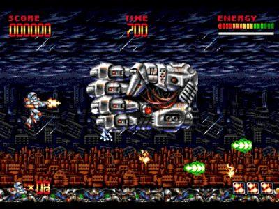 Mega Turrican combat contre un Boss en forme de main