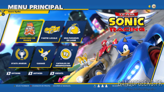 Menu principal Team Sonic Racing