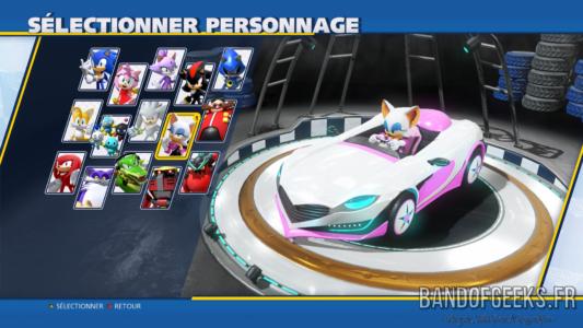 Team Sonic Racing écran sélection personnage