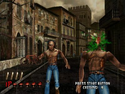 House of the Dead 2 Dreamcast zombie qui prend un headshot