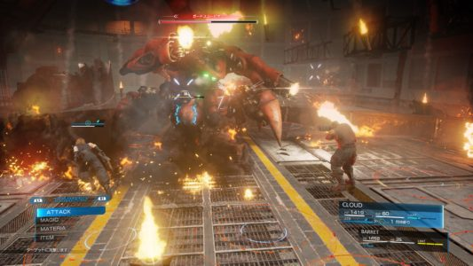 Final Fantasy VII Remake Cloud et Barret contre le Boss Scorpion