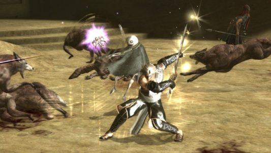 NieR et Emil se battent contre des loups