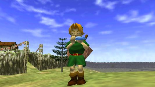 Ocarina of Time Link joue de l'ocarina