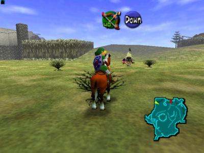Ocarina of Time Link à cheval poursuit une âme