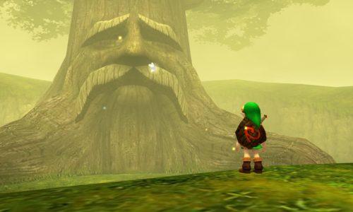 Ocarina of Time Link devant l'arbre Mojo