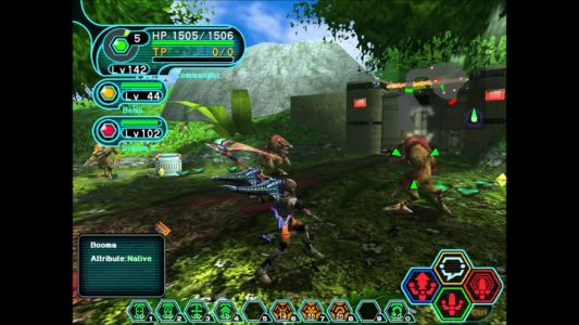 Phantasy Star Online attaque de Booma avec une faux