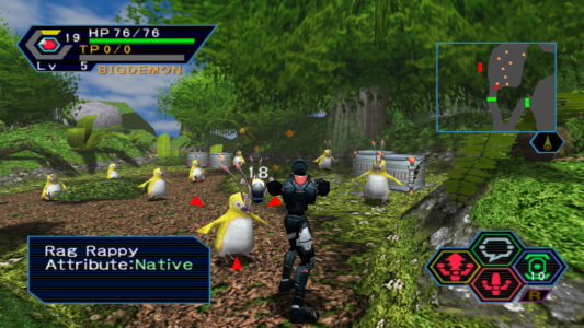 Phantasy Star Online héros attaque des Rag Rappy