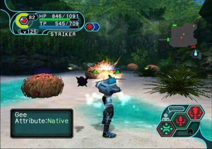 Phantasy Star Online ranger tire sur des ennemis