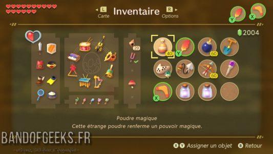 Link's Awakening écran d'inventaire