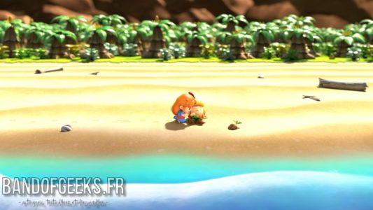 Link's Awakening Marine découvre Link sur la plage