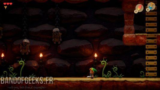 Link's Awakening Link dans une grotte