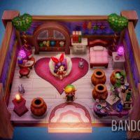 Link's Awakening Link dans une maison remplie de coeurs