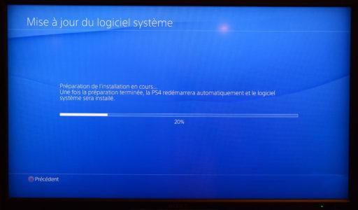 PS4 écran installation mise à jour