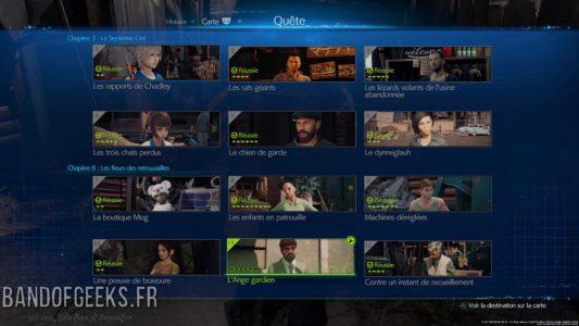 Final Fantasy VII Remake écran quêtes annexes